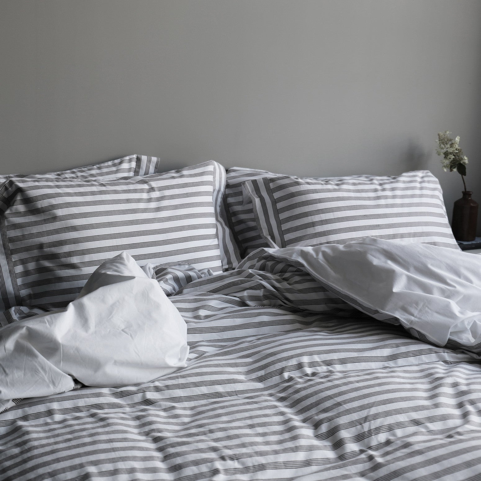 Grey stripe duvet cover
