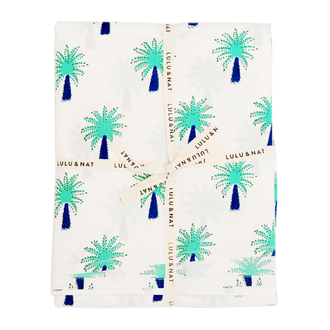 Turquoise palm tree table cloth