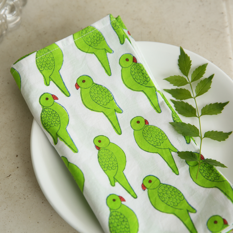 Green Parrot napkins - set of 6