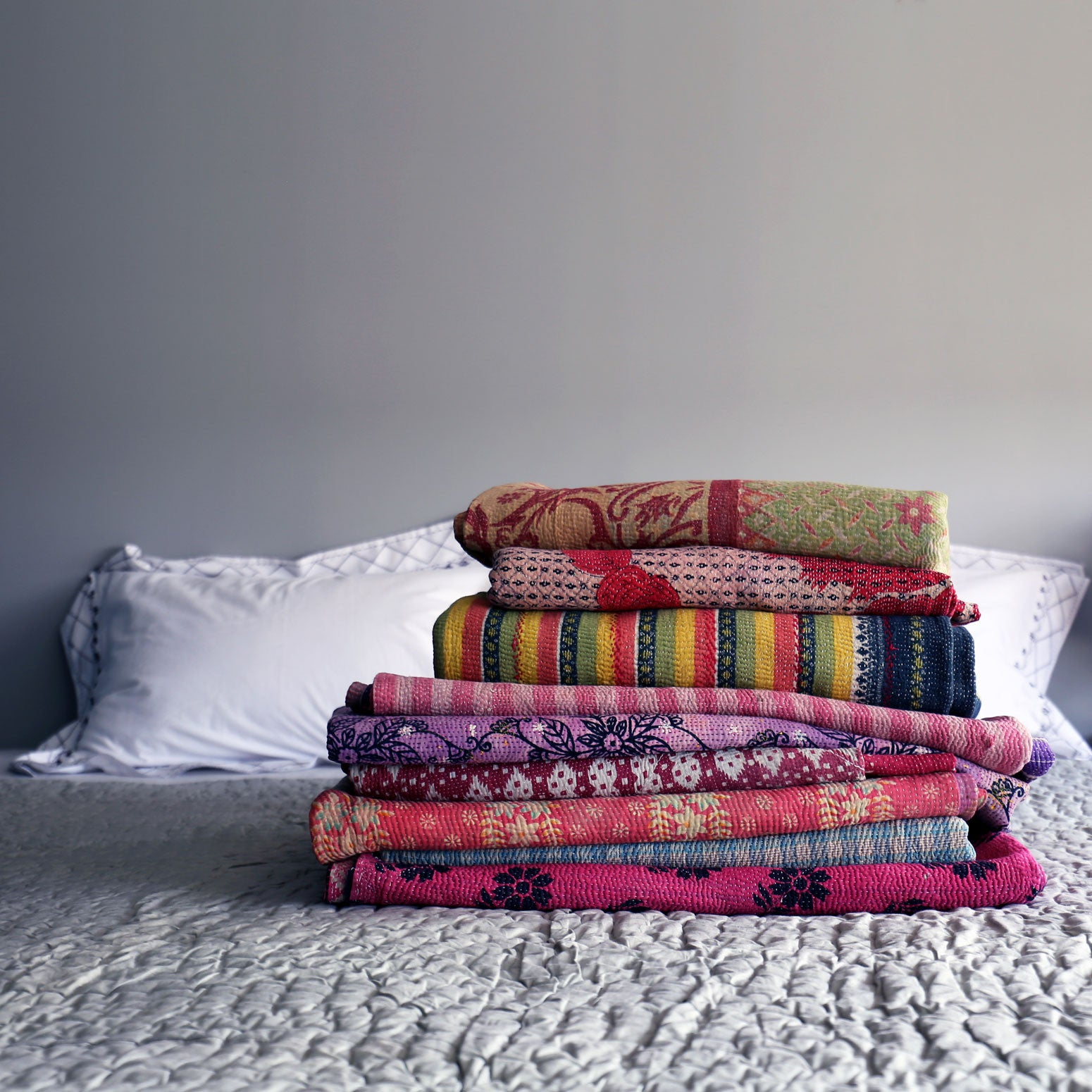 Purple & yellow striped kantha quilt