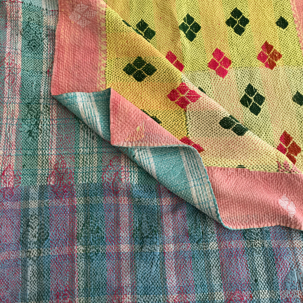 Blue check & yellow diamond kantha quilt