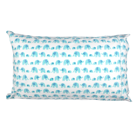 Turquoise elephant single pillowcase