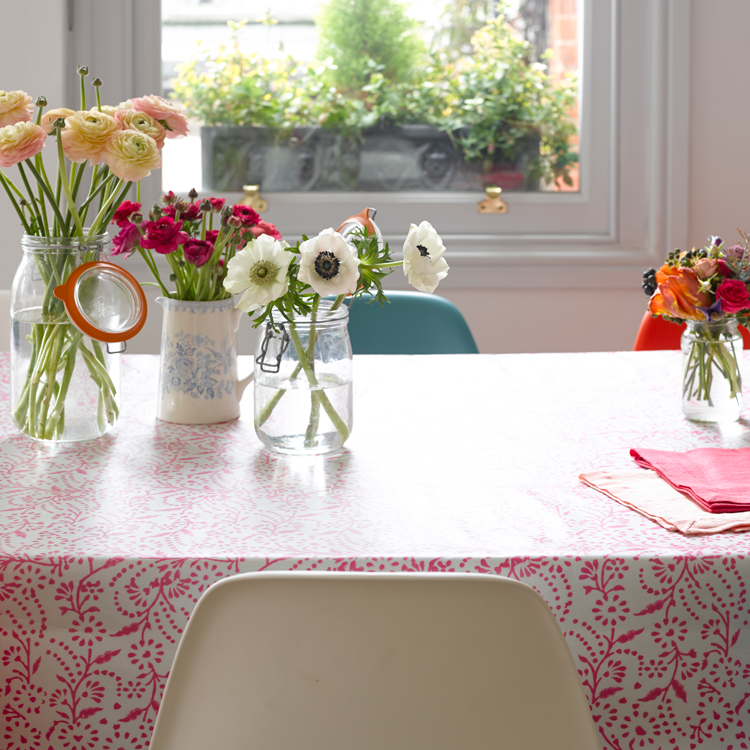 Pink floral oilcloth