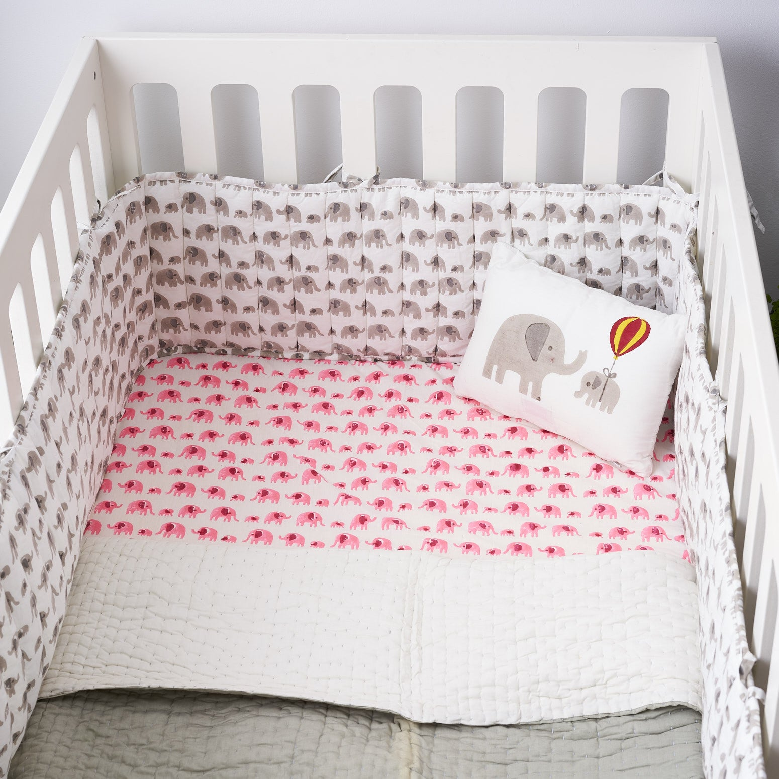 Pink elephant cot bed fitted sheet