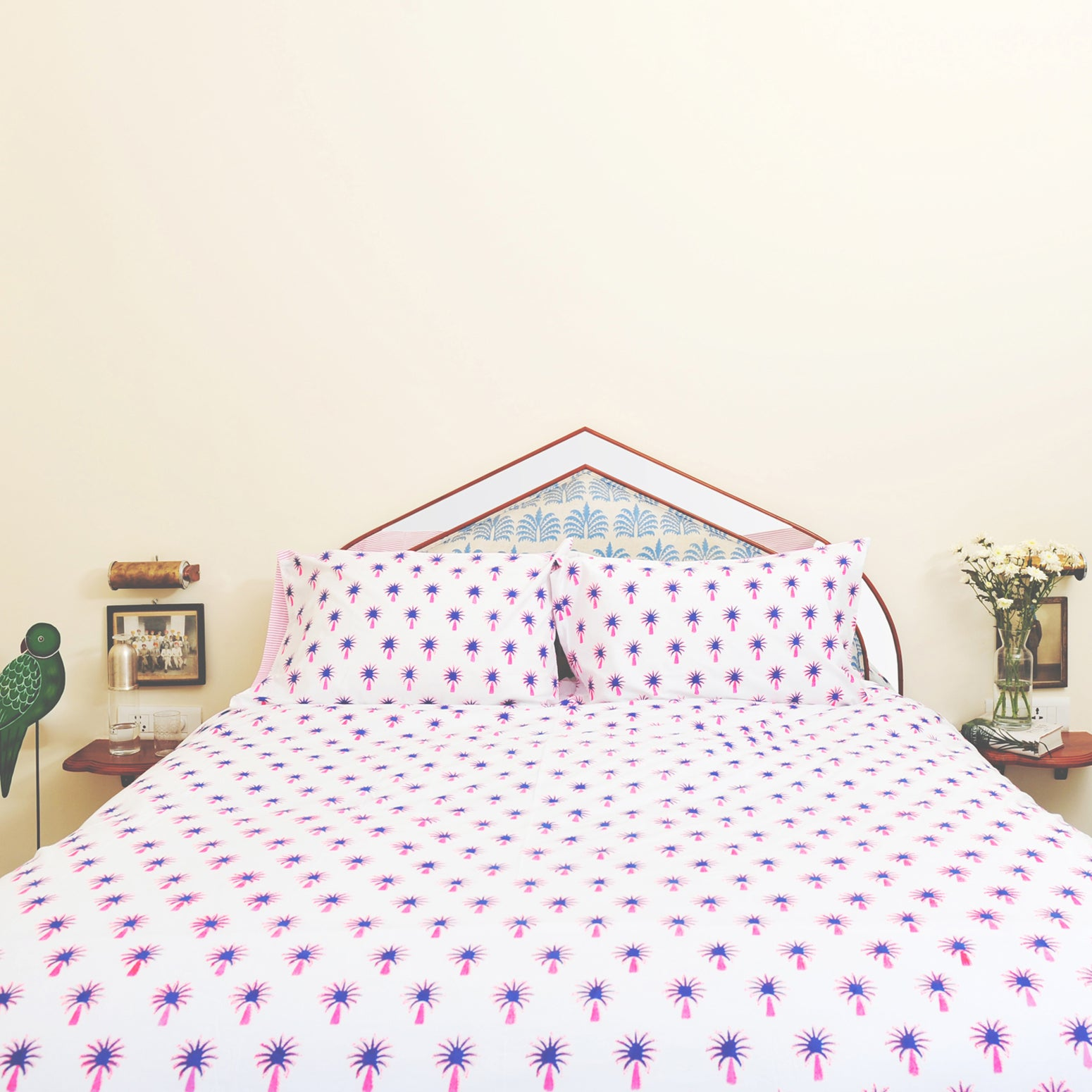 Pink palm tree duvet cover