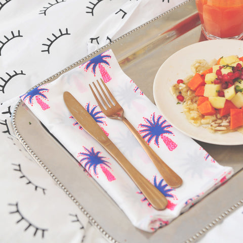 Pink palm tree napkins - set of 6
