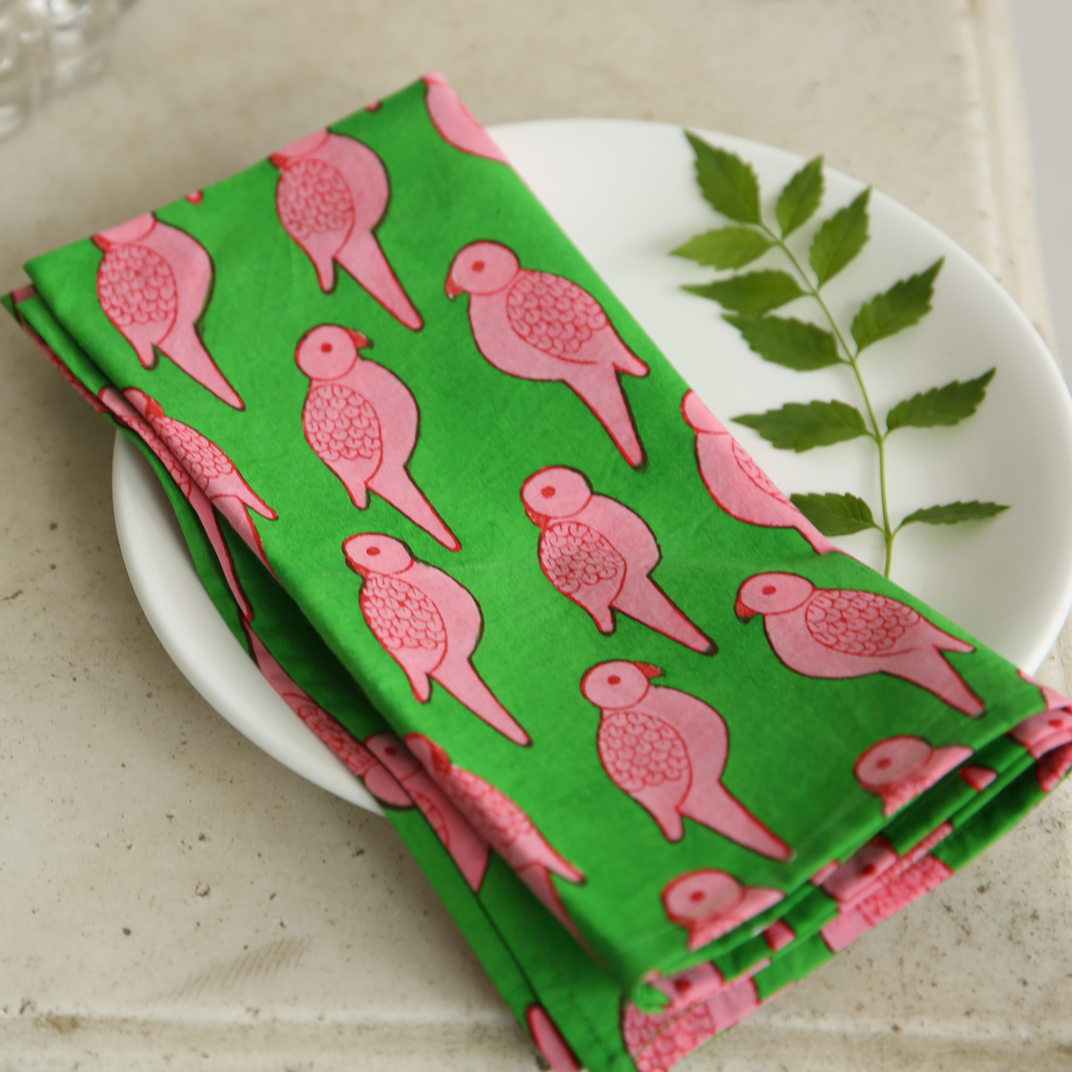 Pink Parrot napkins - set of 6