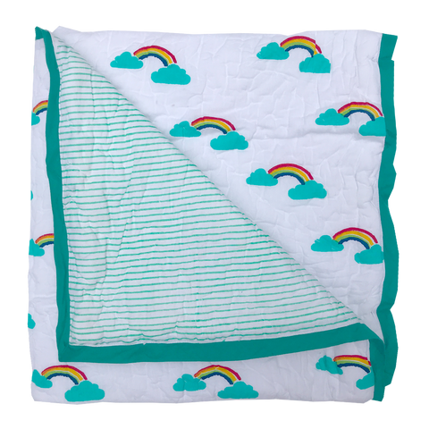 Rainbow reversible baby & toddler quilt