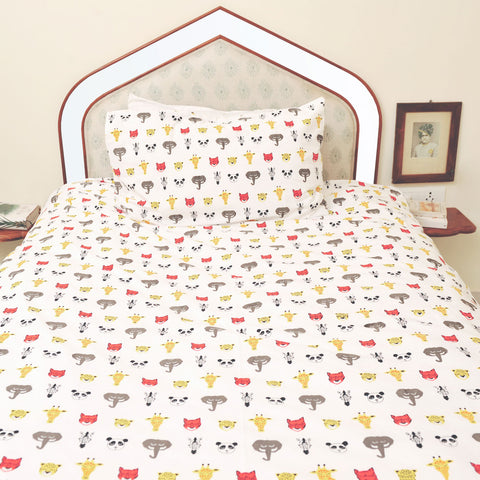 Sleepy safari heads single duvet set
