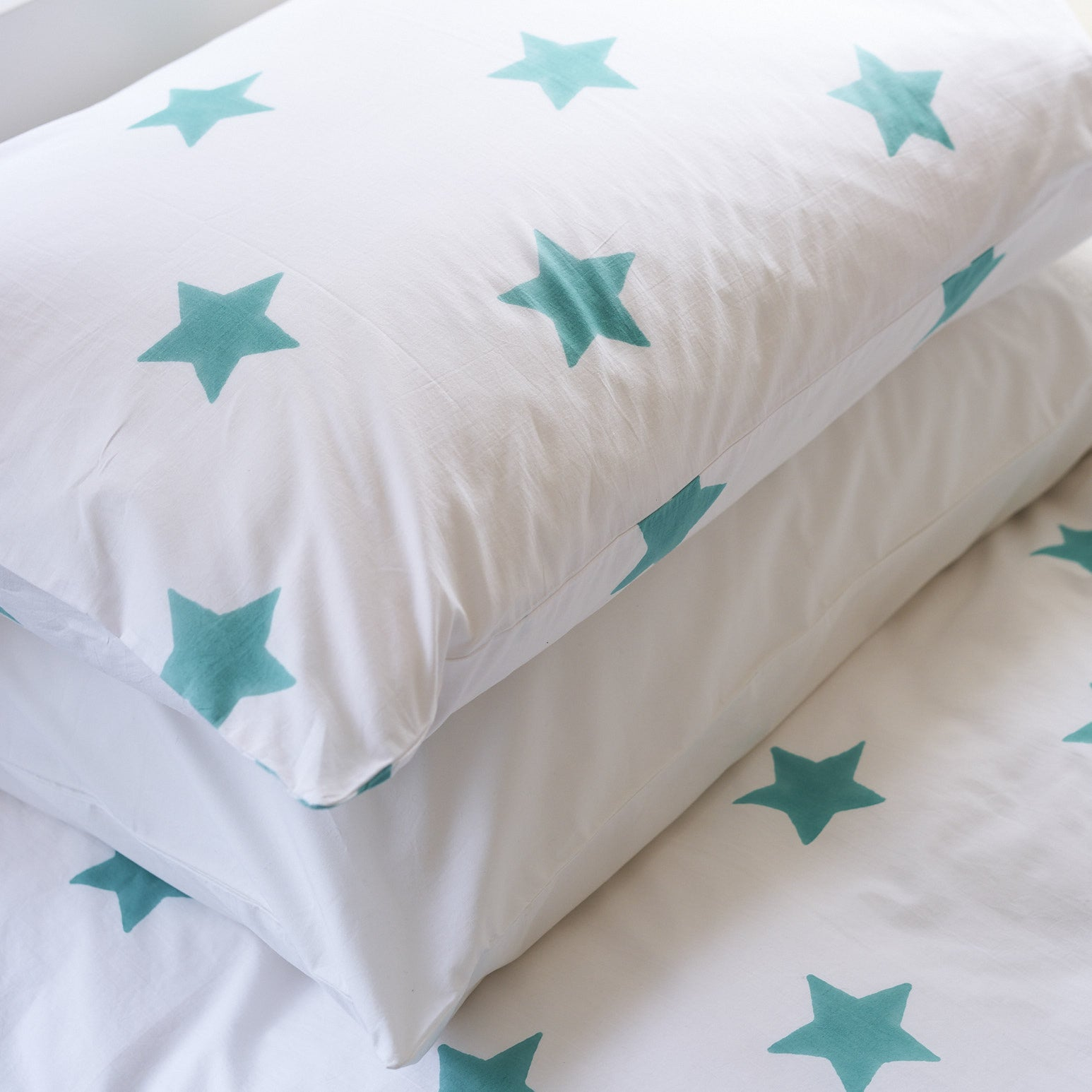 Turquoise blue star single duvet cover