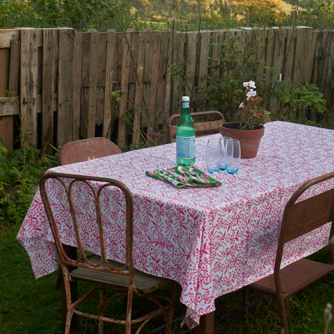 Pink floral table cloth