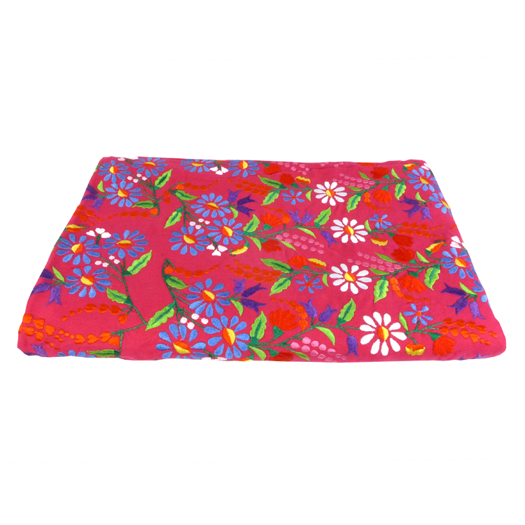 Red floral embroidered throw