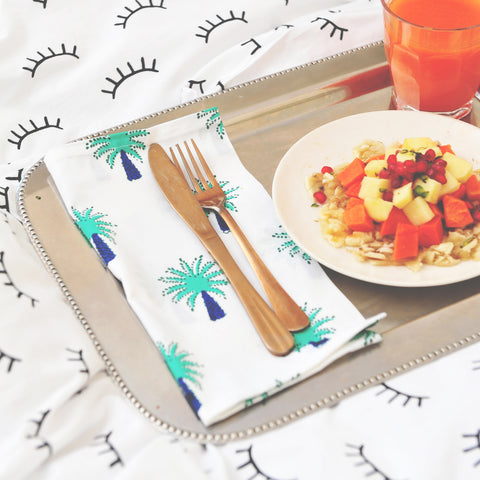 Turquoise palm tree napkins - set of 6