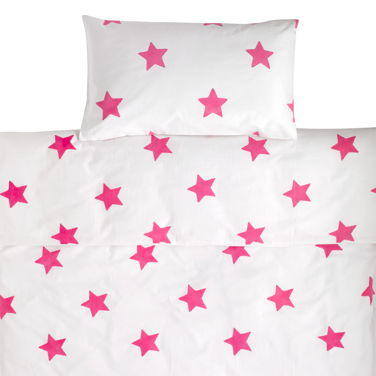 Bright Pink Star toddler cot bed duvet set