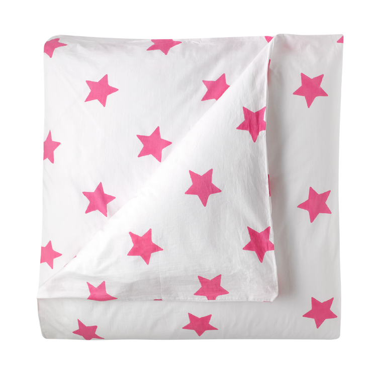 Bright pink star single duvet cover