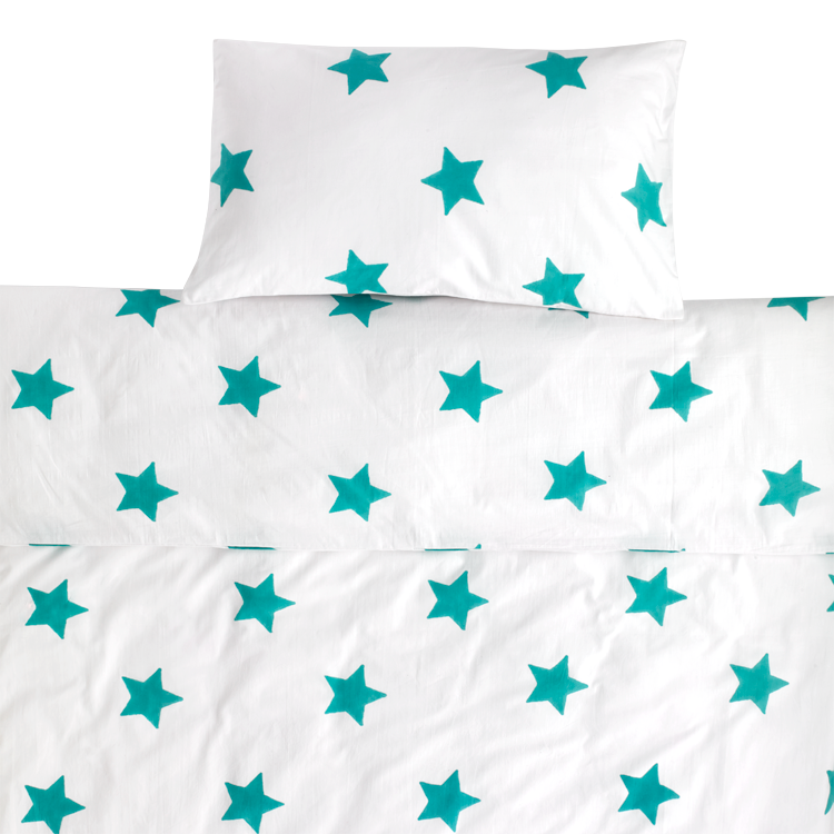 Tuquoise Star toddler cot bed duvet set