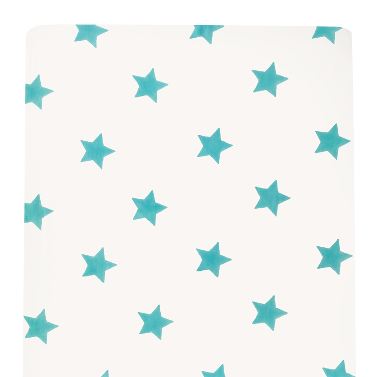 Turquoise blue star cot bed bumper