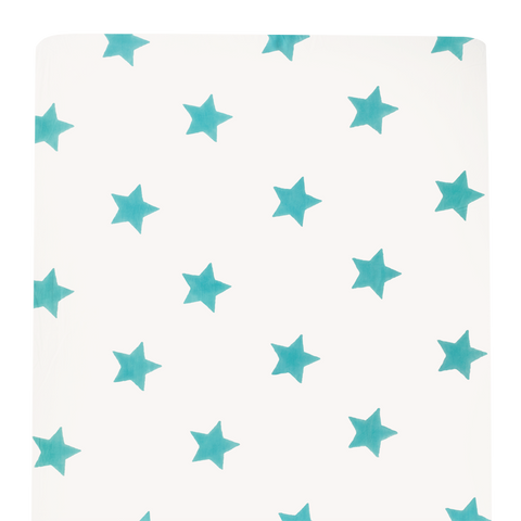 Turquoise blue cot bed fitted sheet