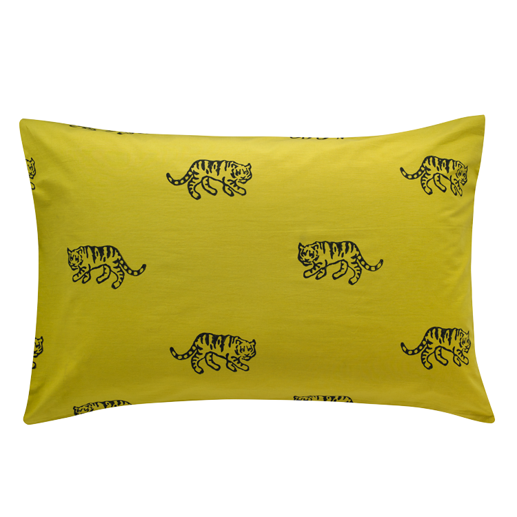 Ochre tiger single pillowcase