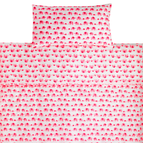 Pink elephant toddler cot bed duvet set