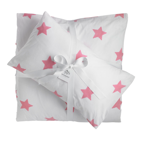 Pink star single bedding set