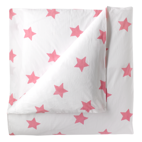 Pastel pink star single duvet cover