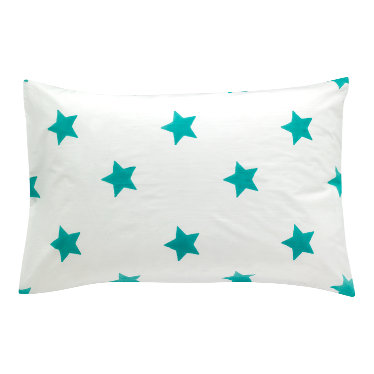 Turquoise blue star single pillowcase