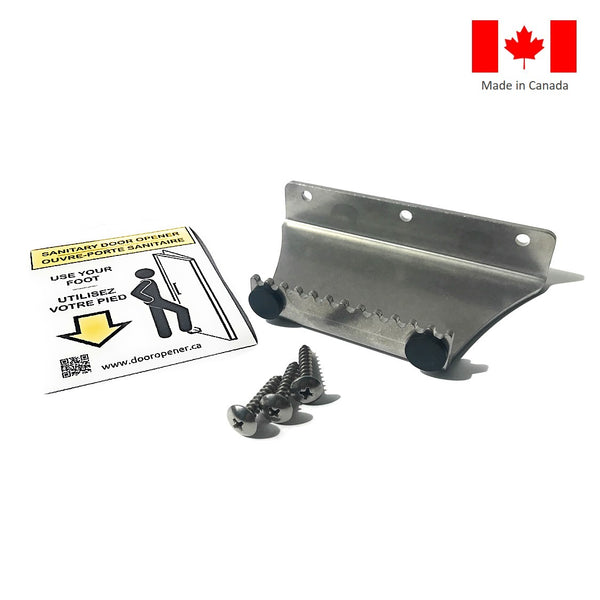 Stepawayer© Sanitary Foot Door Opener. Step and Pull type aka 'StepnPull'. Made in Canada. DoorOpener Canada.