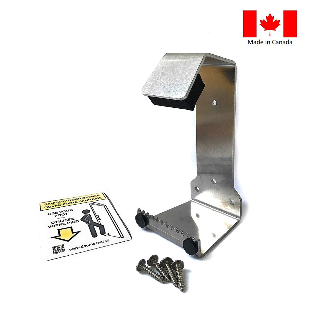 HybridPull© Sanitary Foot Door Opener. Step and Pull and Toe Pull types in one unit. Made in Canada. DoorOpener Canada.