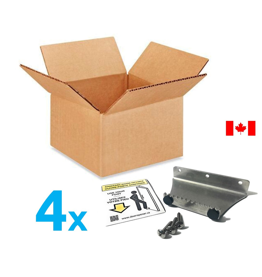 Value Pack 4x Stepawayer© Sanitary Foot Door Opener. Step and Pull type aka 'StepnPull'. Made in Canada. DoorOpener Canada.