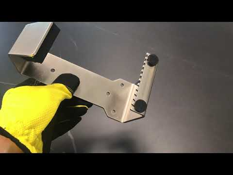 HybridPull© Sanitary Foot Door Opener demo video. Step and Pull and Toe Pull types in one unit. Made in Canada. DoorOpener Canada.