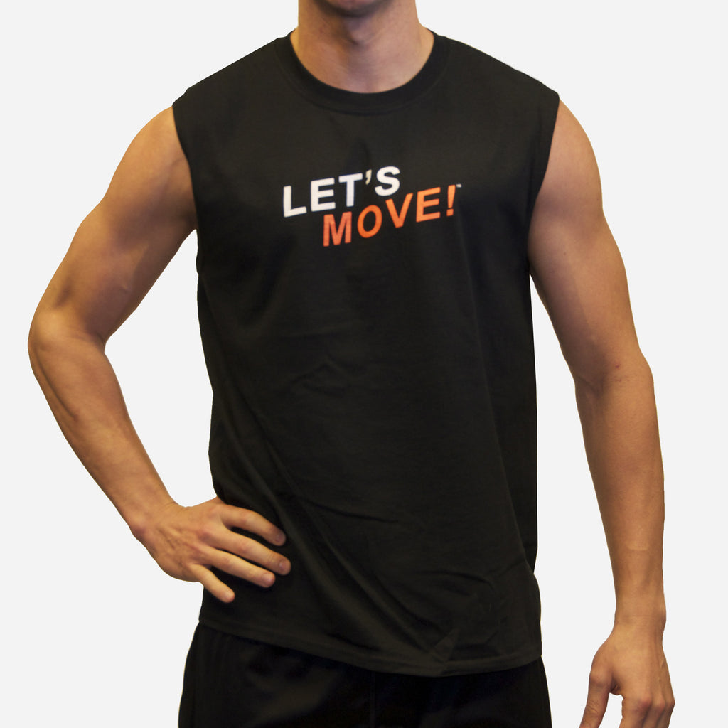 MOSSA Men's Let's Move Sleeveless Sport Black T-Shirt