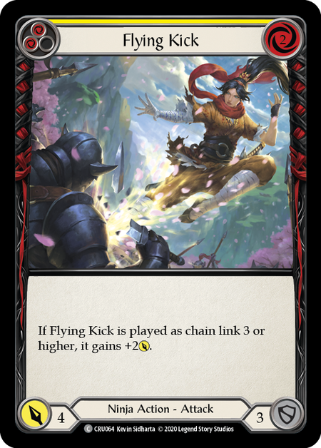 Flying Kick (Yellow) | Common [Rainbow Foil] - 1st Edition