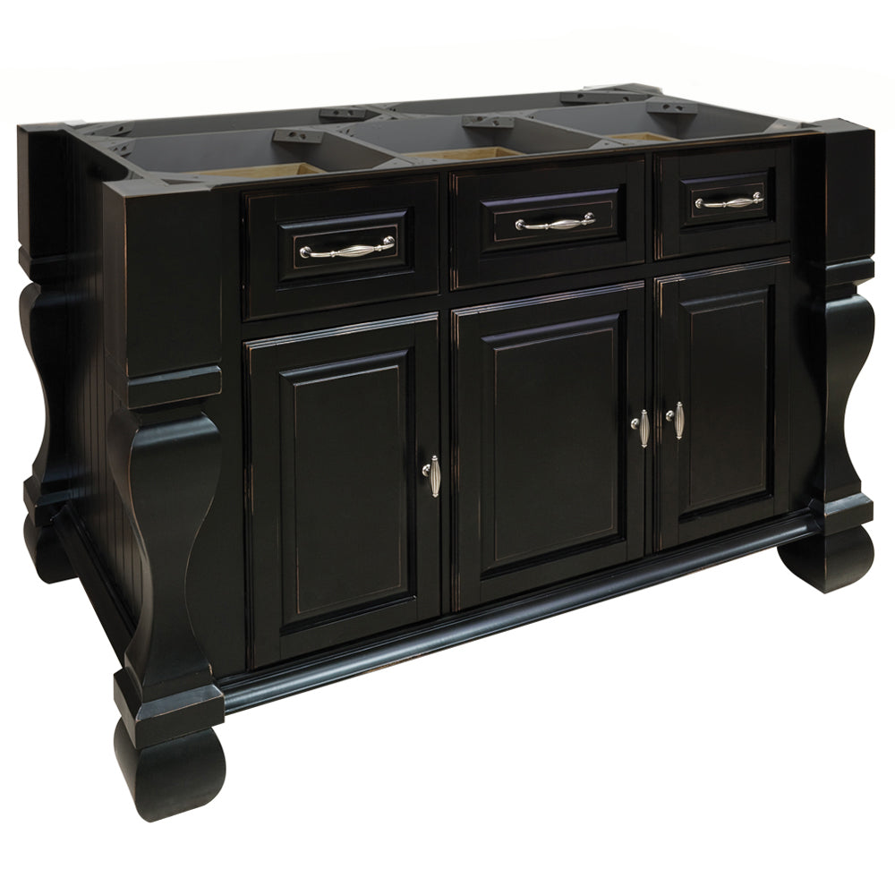 Hardware Resources ISL01 Kitchen Island, Distressed Black ...