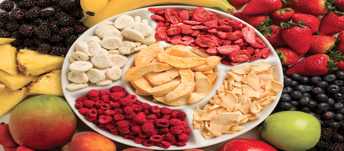 Freeze-dried fruits are as healthy as the fresh ones. Freeze drying process takes away moisture and retains most of the nutritional value of the fruits.