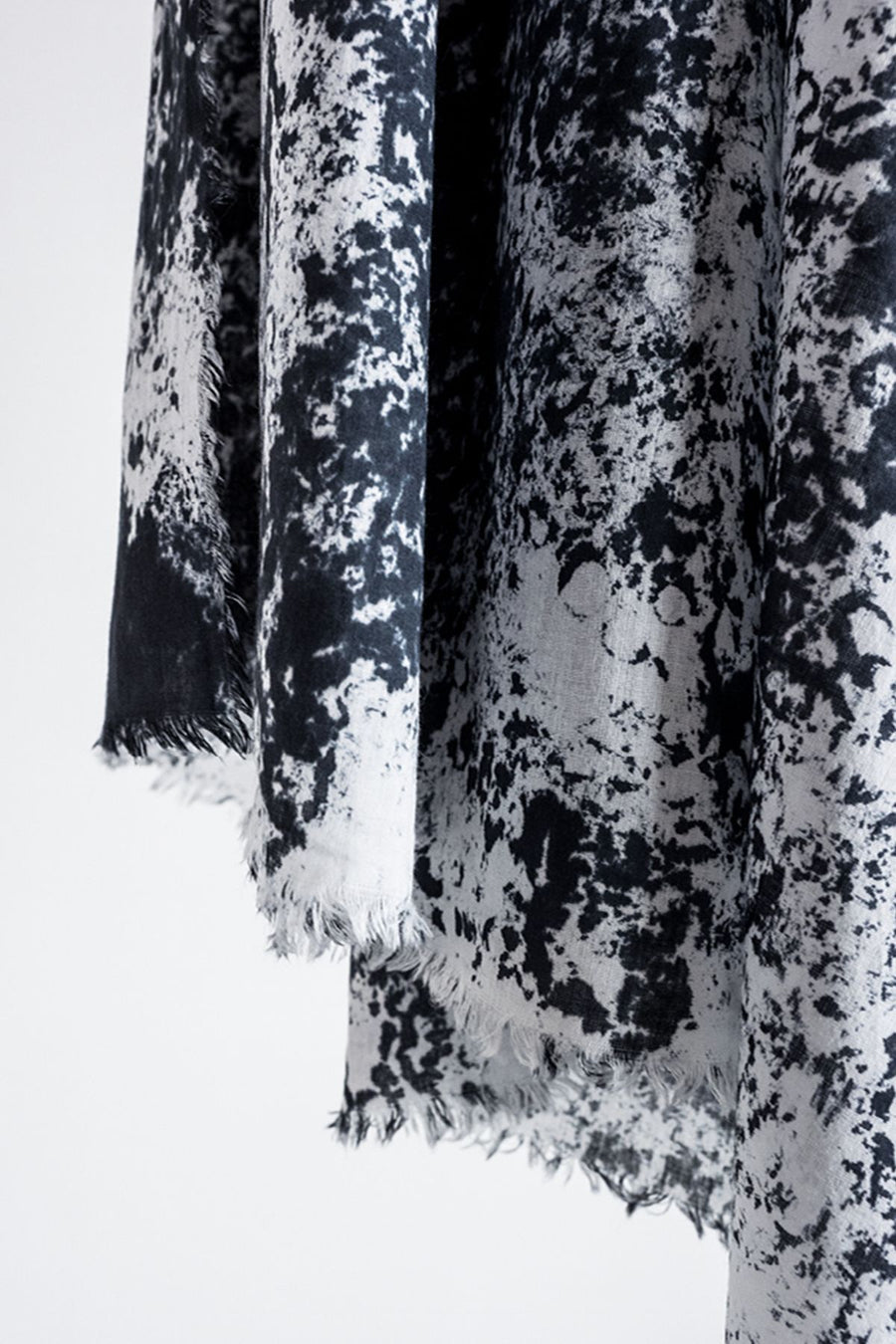 scarf with black and white abstract pattern