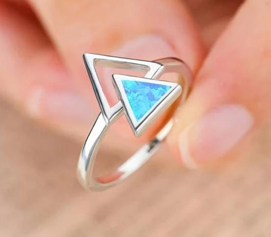 Stunning Blue Ice / White Fire Opal Ring
