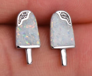 Adorable Ice-Cream Blue Ice / White Fire Opal Stud Earrings