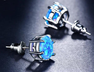 Electric Blue Fire Opal Stud Earrings