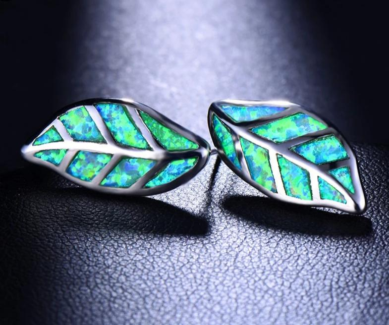 Cute Enchanting Green / White / Blue Fire Opal Leaf Earrings