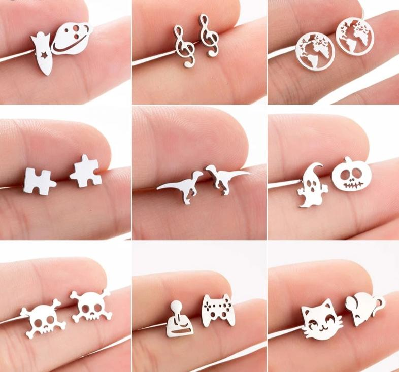 Shapes & Animal Stainless Steel Stud Earrings