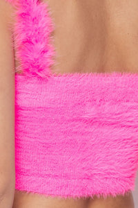 Fuzzy Feather Tank Top (Pink)