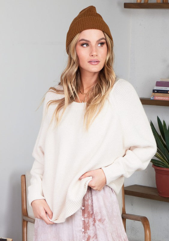 Cozy Cropped Long Sleeve Ribbed Sweater (Salt)