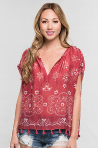 Floral Paisley Cap Sleeve Top (Red/Off White)