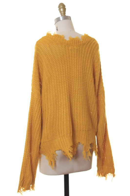Distressed Fringe Sweater Top (Mustard)