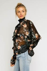 Black Floral Mock Neck Blouse
