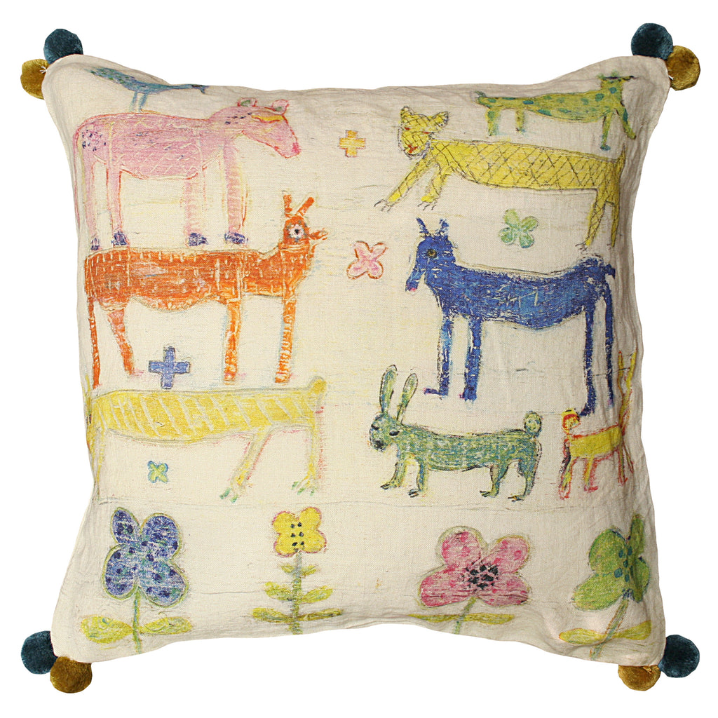 Stacked Animals Pillow with Poms