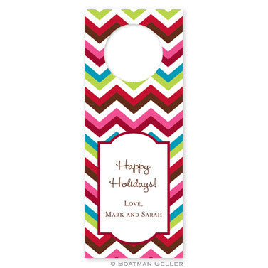 Bottle Tags - Holiday Chevron
