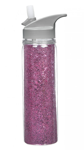 Insulated Acrylic Water Bottle - Pink Glitter