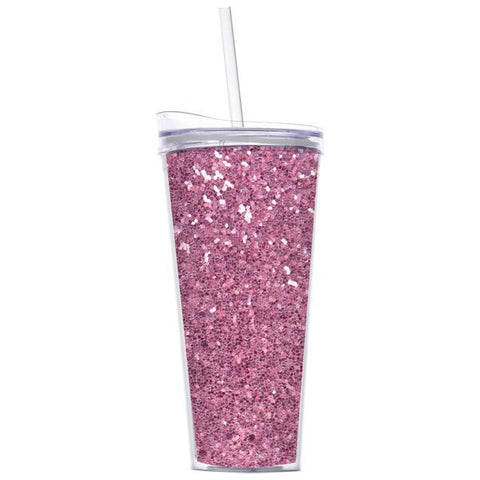 Pink Glitter Double Wall Tumbler